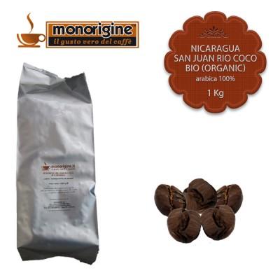 Caffè Arabica Biologico in grani Nicaragua San Juan Rio Coco BIO (Organic) - 1 Kg