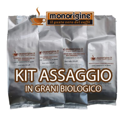 Kit assaggio 4 x 250 gr - caffè in grani Biologico