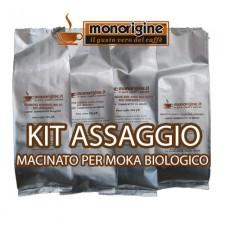 Kit assaggio 4 x 250 gr - caffè macinato per moka Biologico
