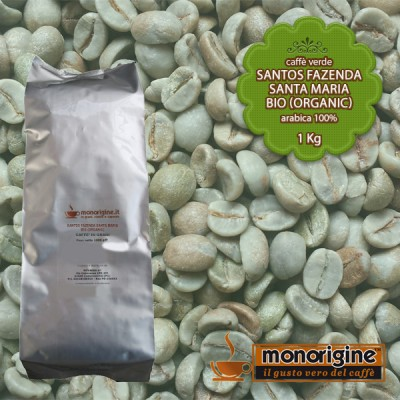 Caffè Verde Arabica Biologico in grani Santos Fazenda Santa Maria BIO (Organic) - 1 Kg