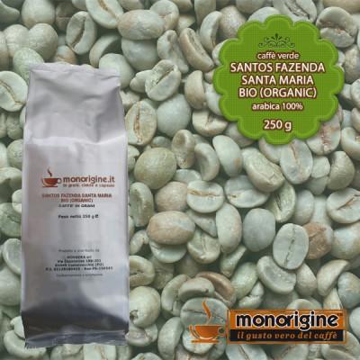 Caffè Verde Arabica Biologico in grani Santos Fazenda Santa Maria BIO (Organic) - 250 gr