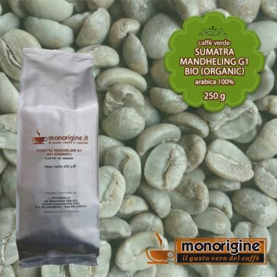 Caffè Verde Arabica Biologico in grani Sumatra Mandheling G1 BIO (Organic) - 250 gr
